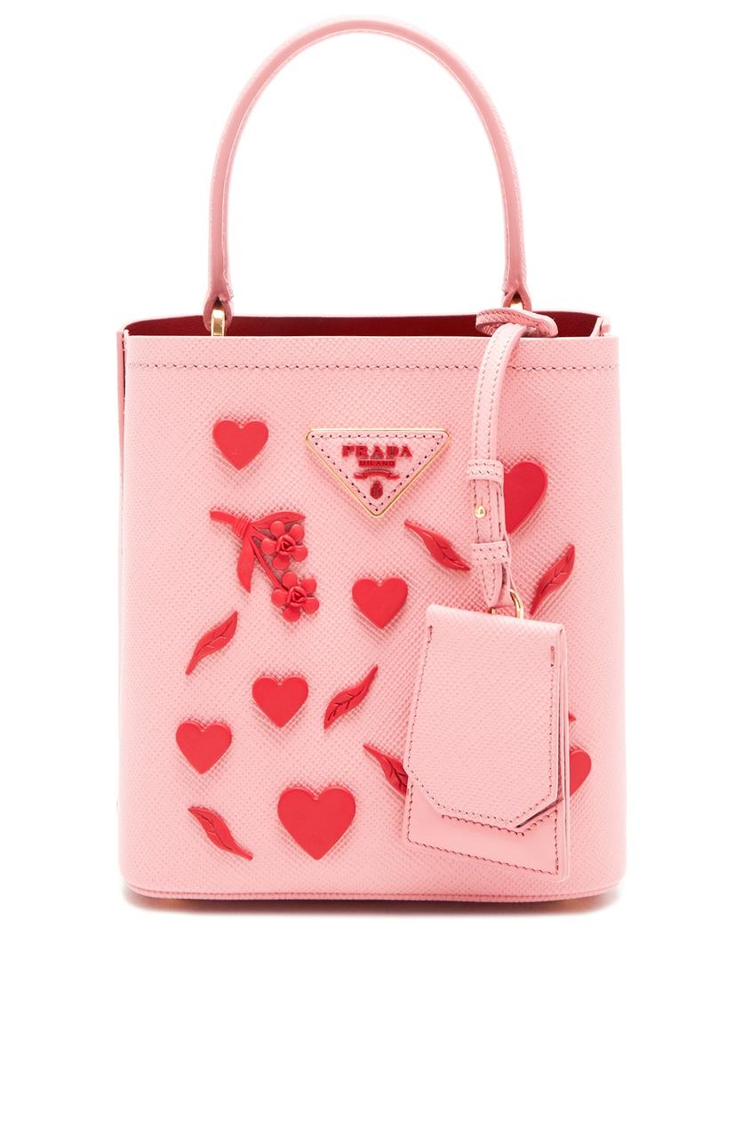 Розовая сумка Panier с отделкой PRADA