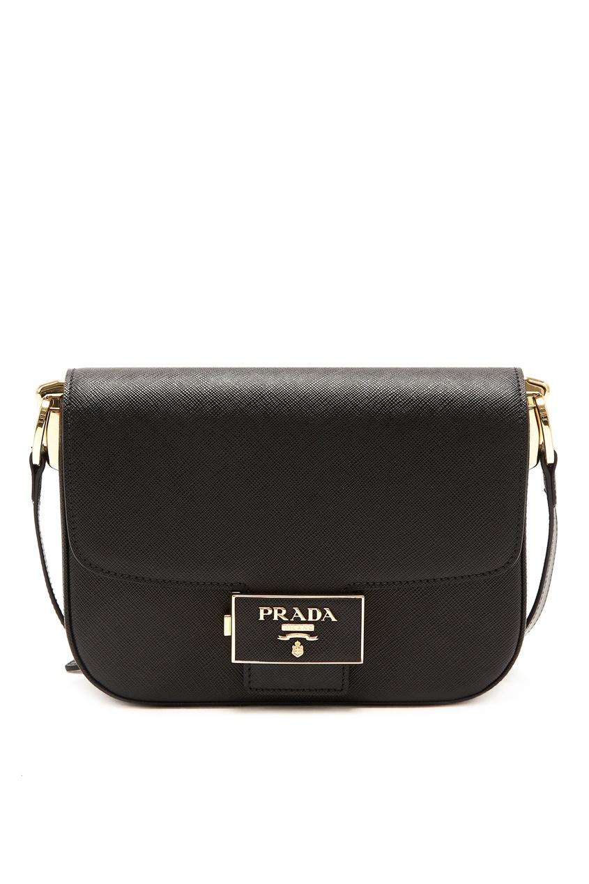 Черная сафьяновая сумка Emblème