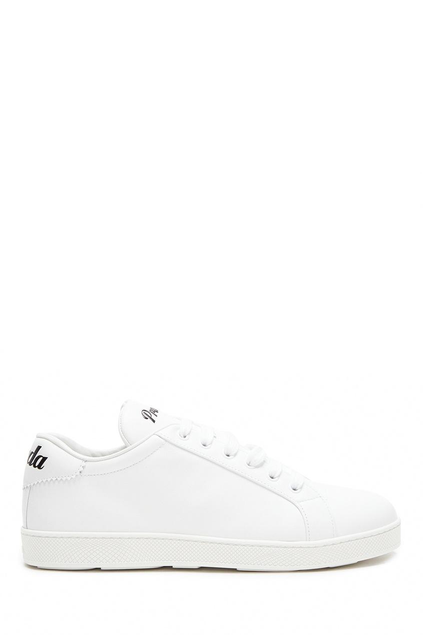 Кожаные кеды белого цвета от Prada