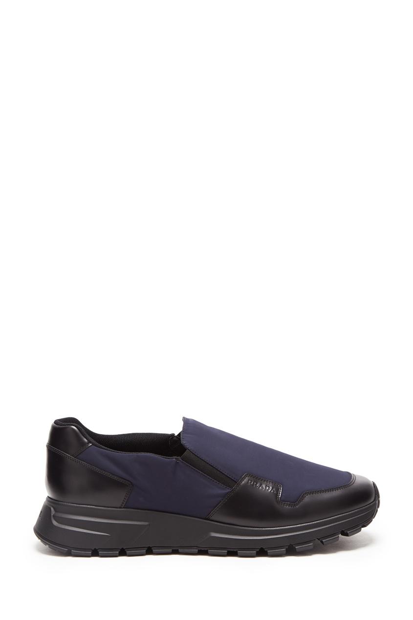 Синие кроссовки-слипоны PRADA