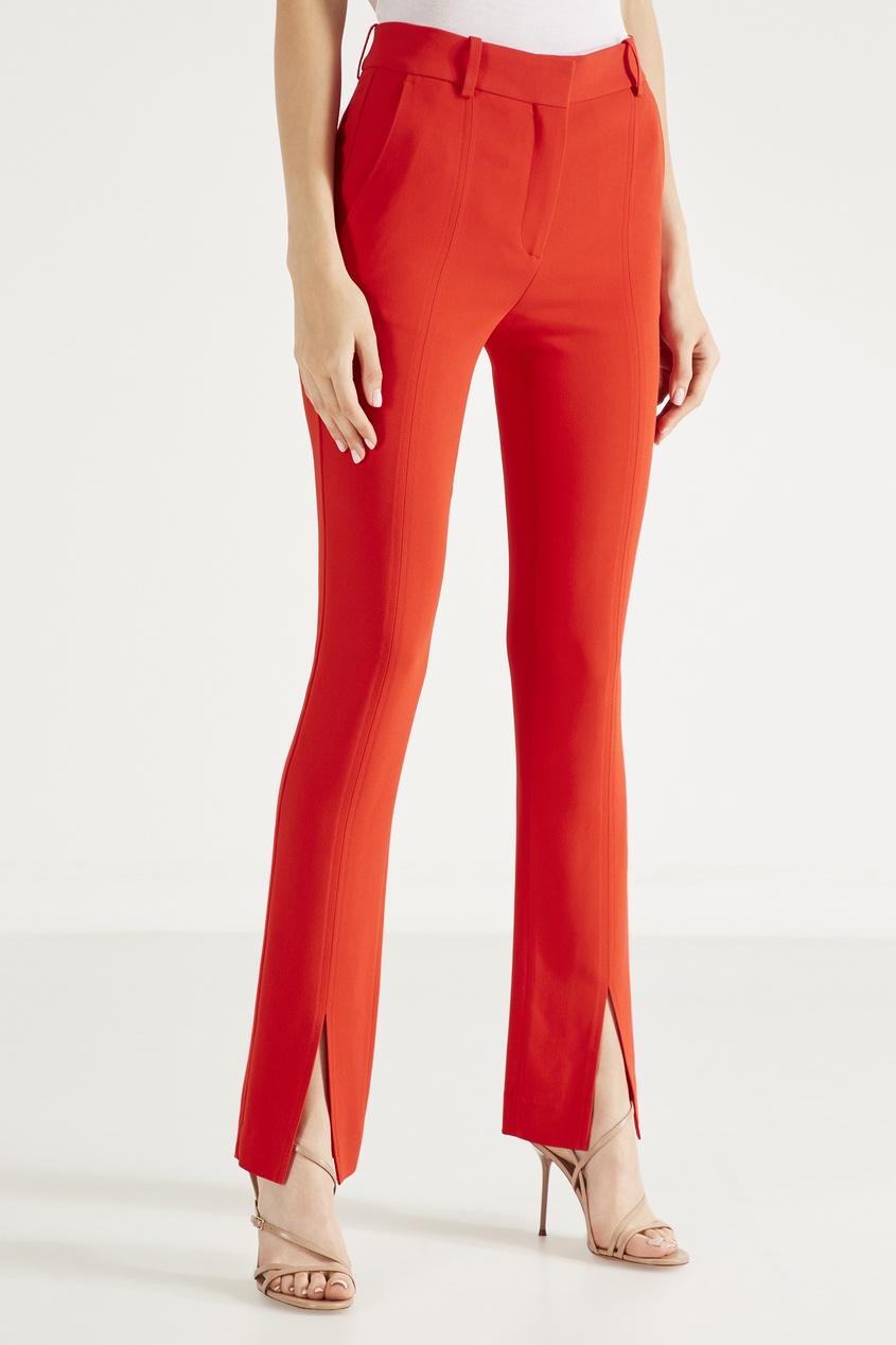 Алые трикотажные брюки с разрезами от Victoria Beckham