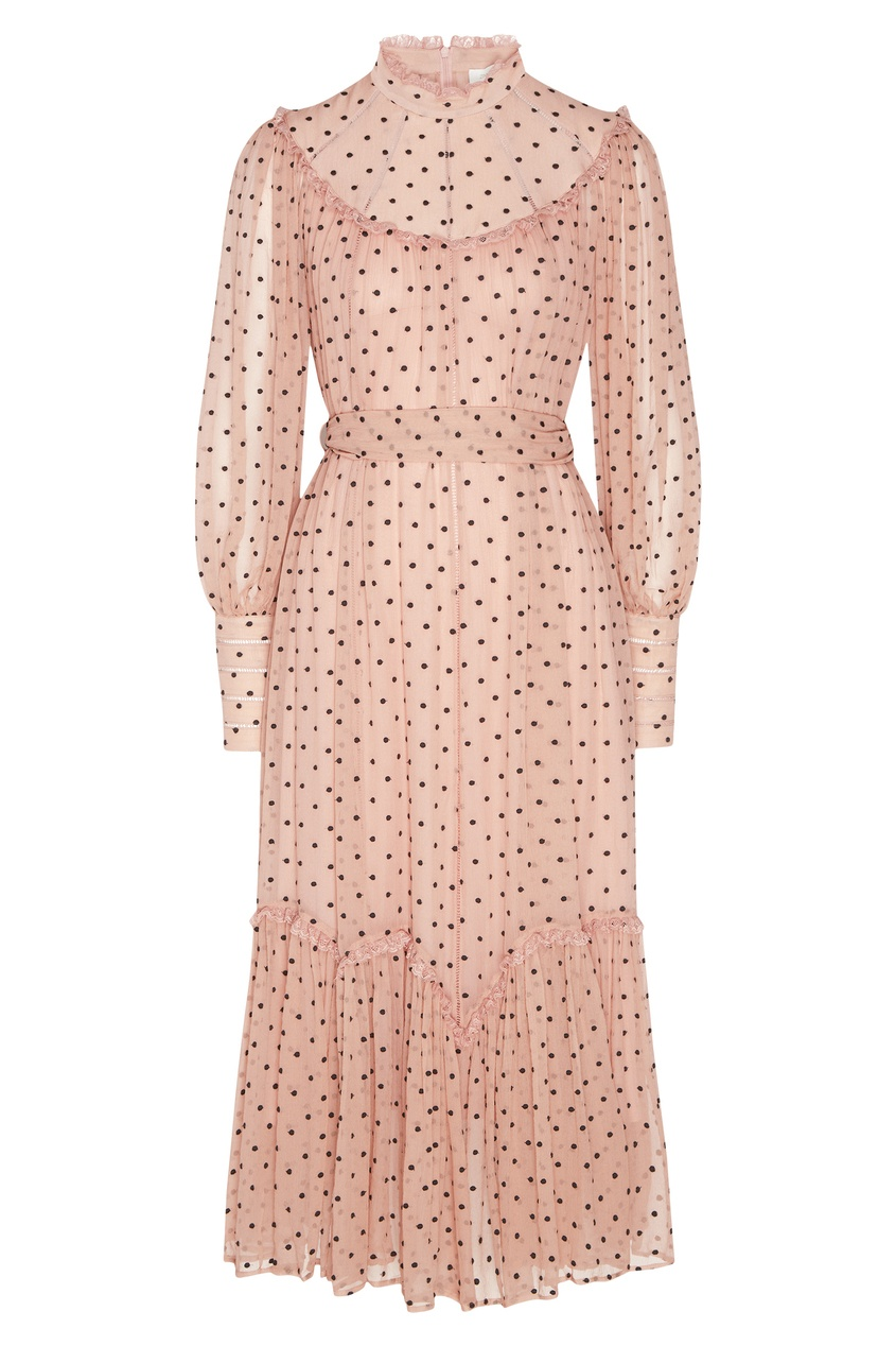 Розовое платье в горох Zimmermann
