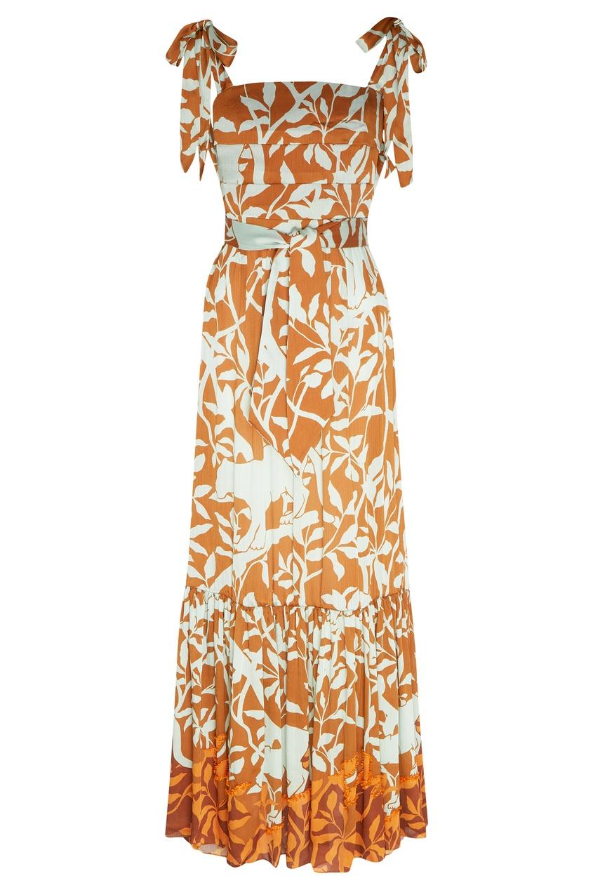 Платье-бандо с растительным принтом от Johanna Ortiz