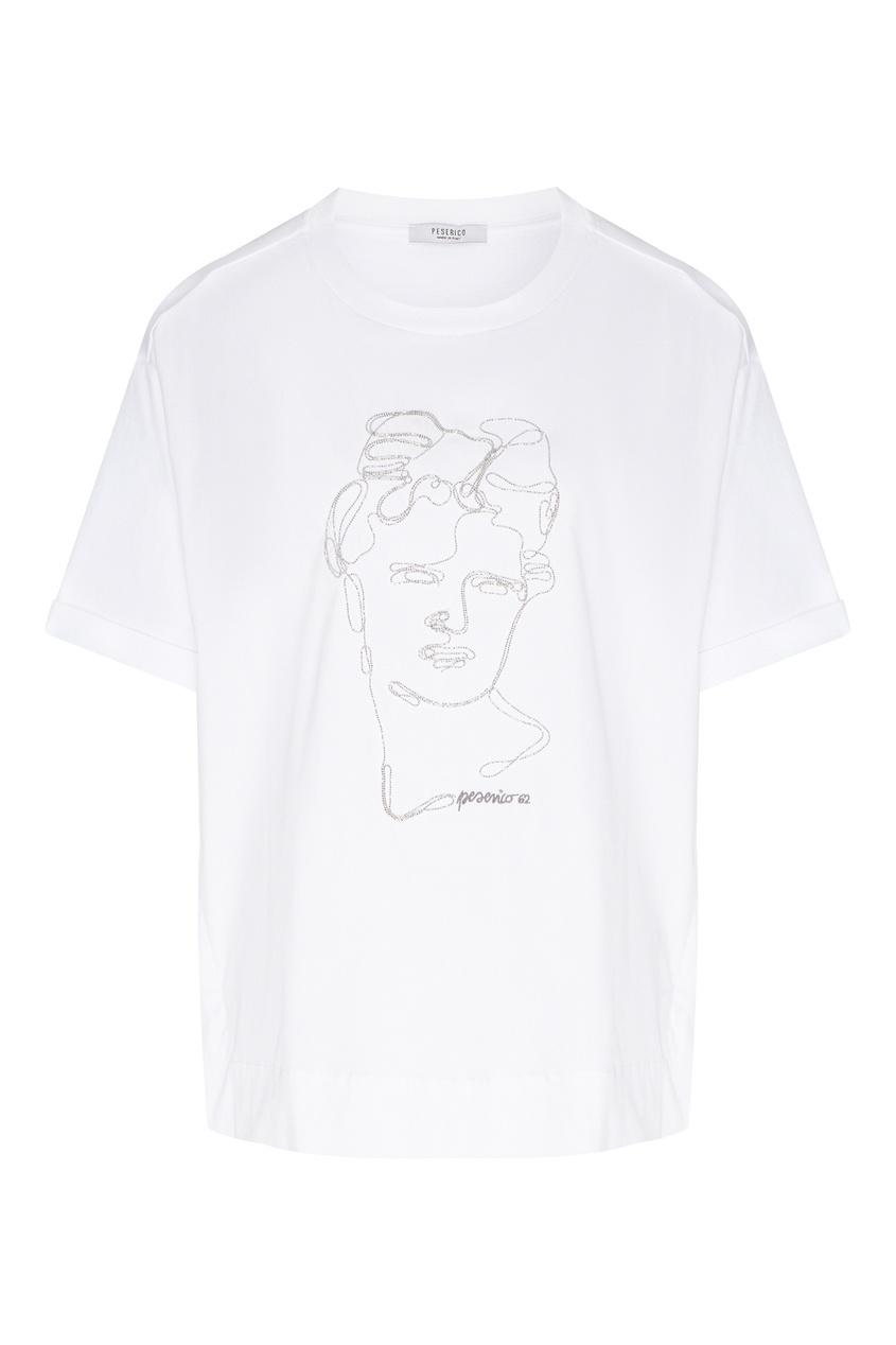 женская футболка peserico, белая