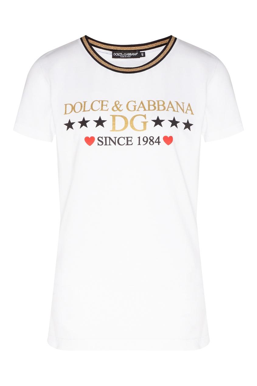 женская футболка dolce & gabbana, белая