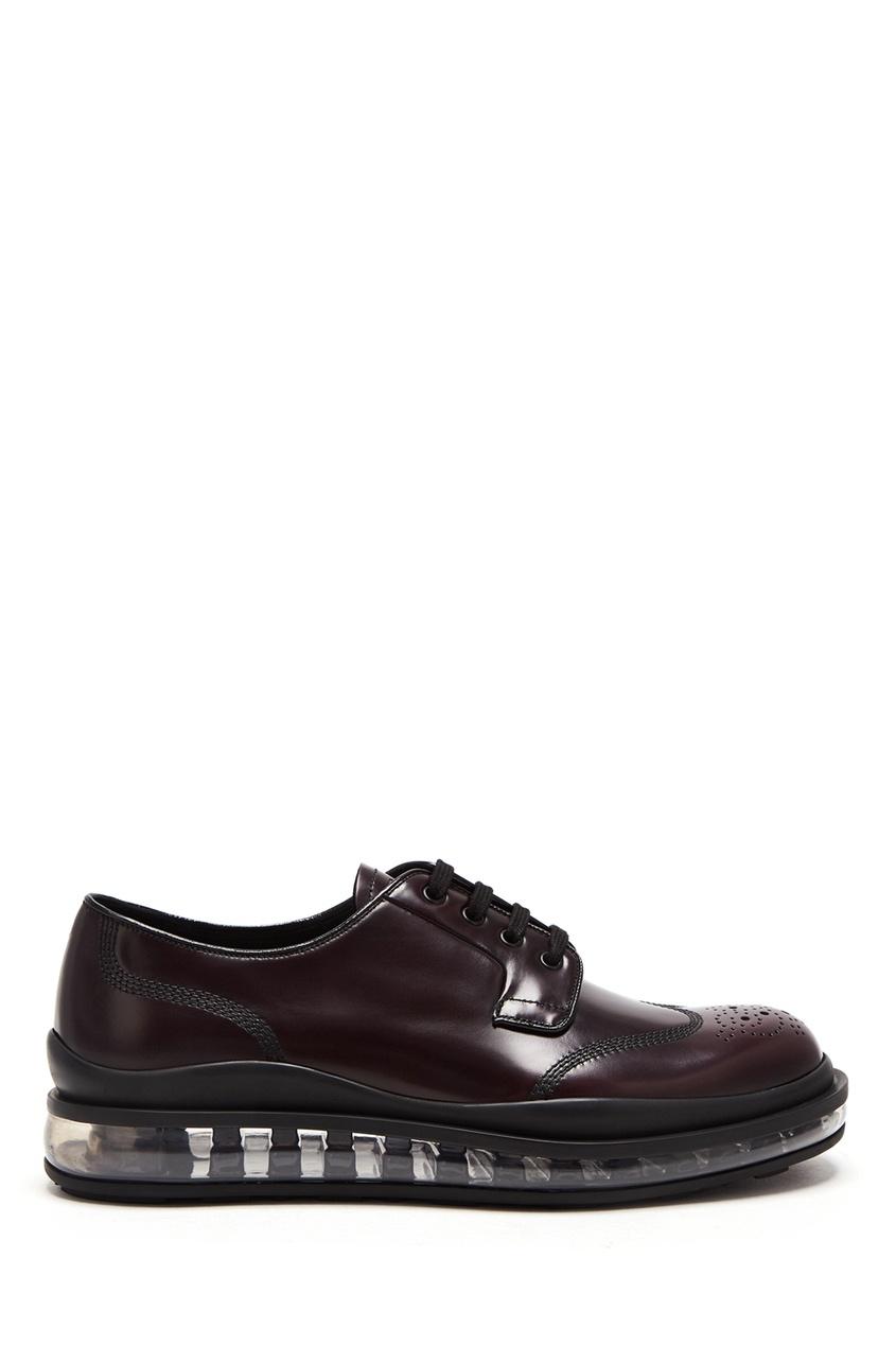 мужские туфли prada, бордовые