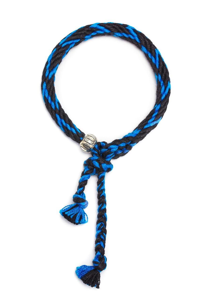 Черно-синий браслет Kumihimo