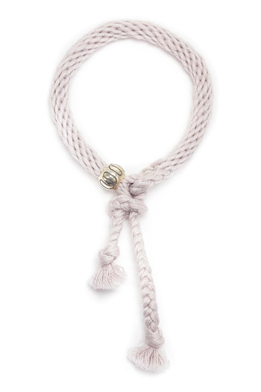 Белый плетеный браслет Kumihimo