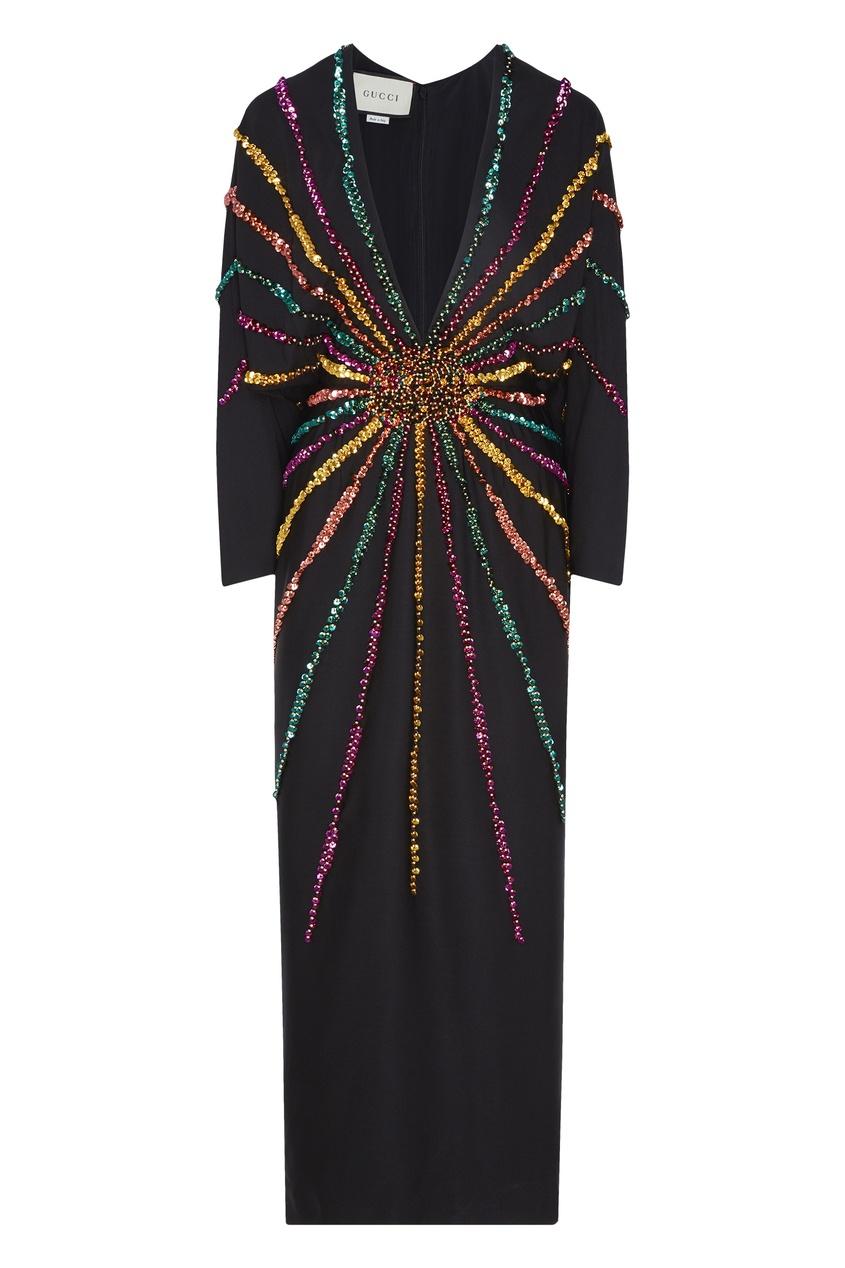 Шелковое платье с декором из кристаллов Gucci