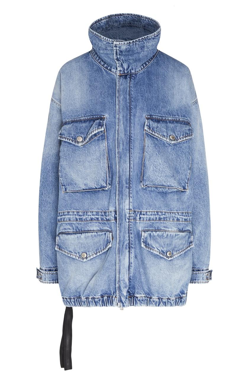 Голубая джинсовая куртка оверсайз с накладными карманами