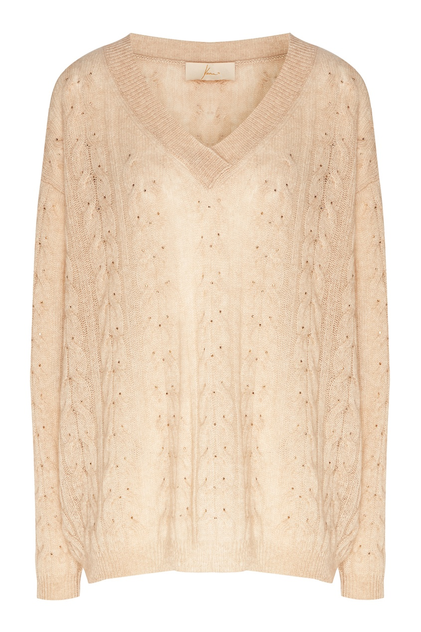 Бежевый пуловер со стразами от Yana Dress