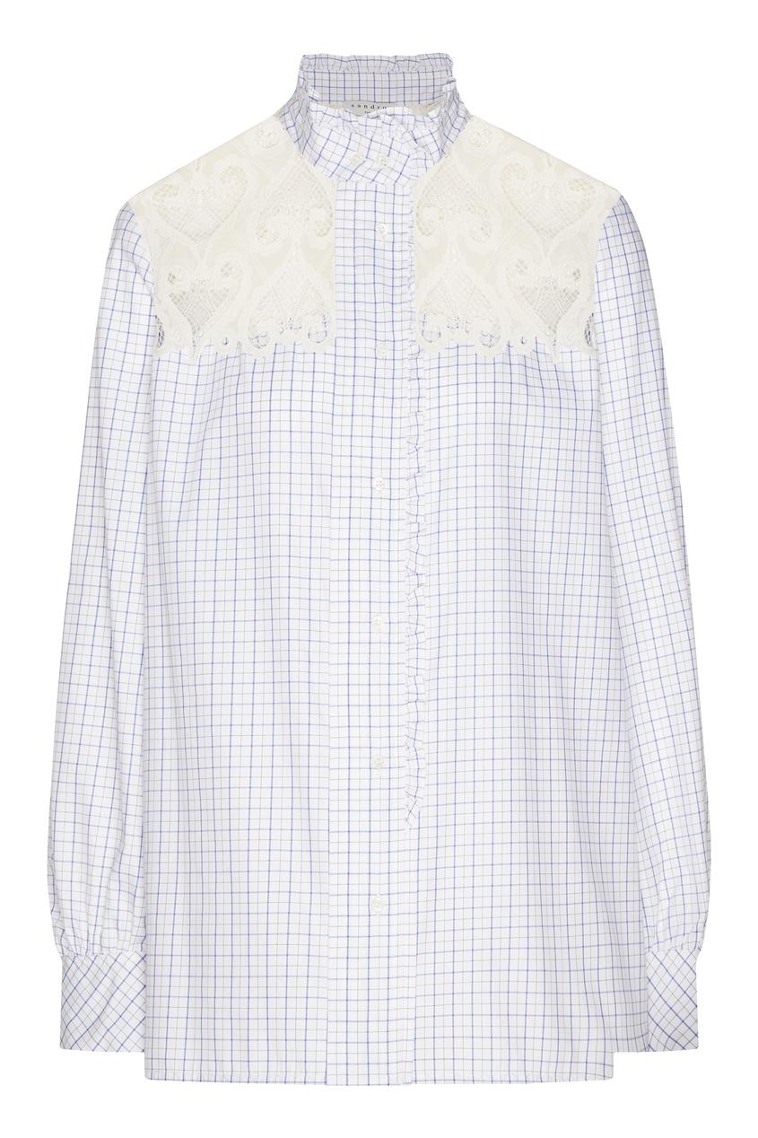 Купить со скидкой Блузка с кружевной вставкой
