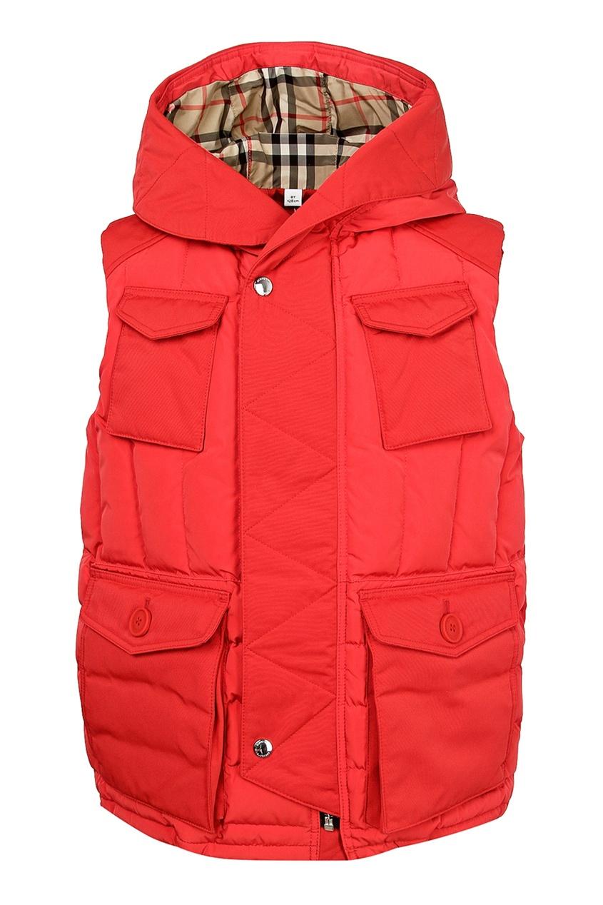 Красный жилет с карманами Burberry Kids