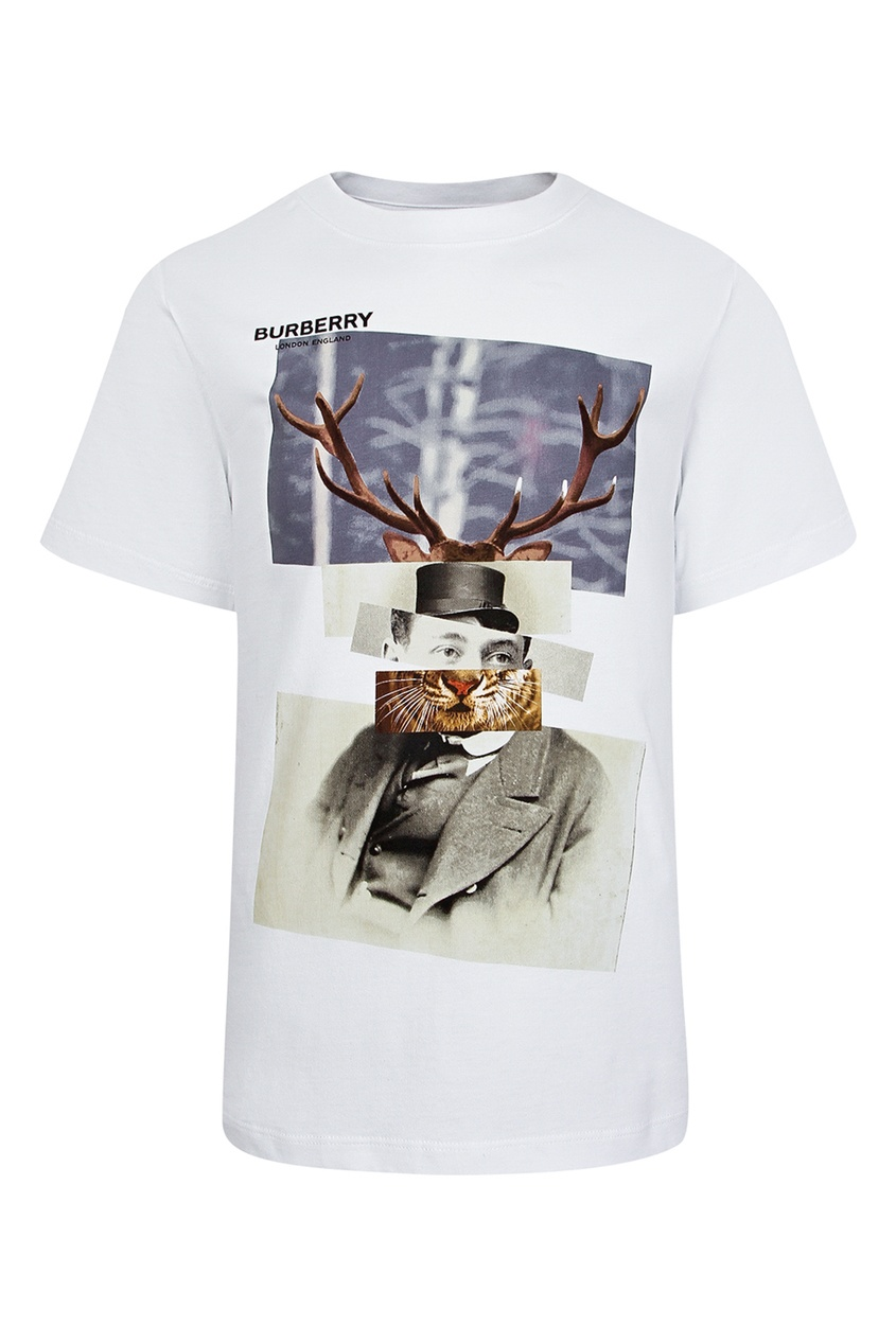 Белая футболка со стилизованным фотопринтом Burberry Kids