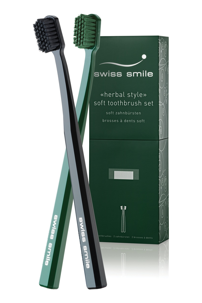 Вечерний набор зубных щёток черного и зеленого цвета Herbal Bliss Toothbrushes, 2шт, Multicolor