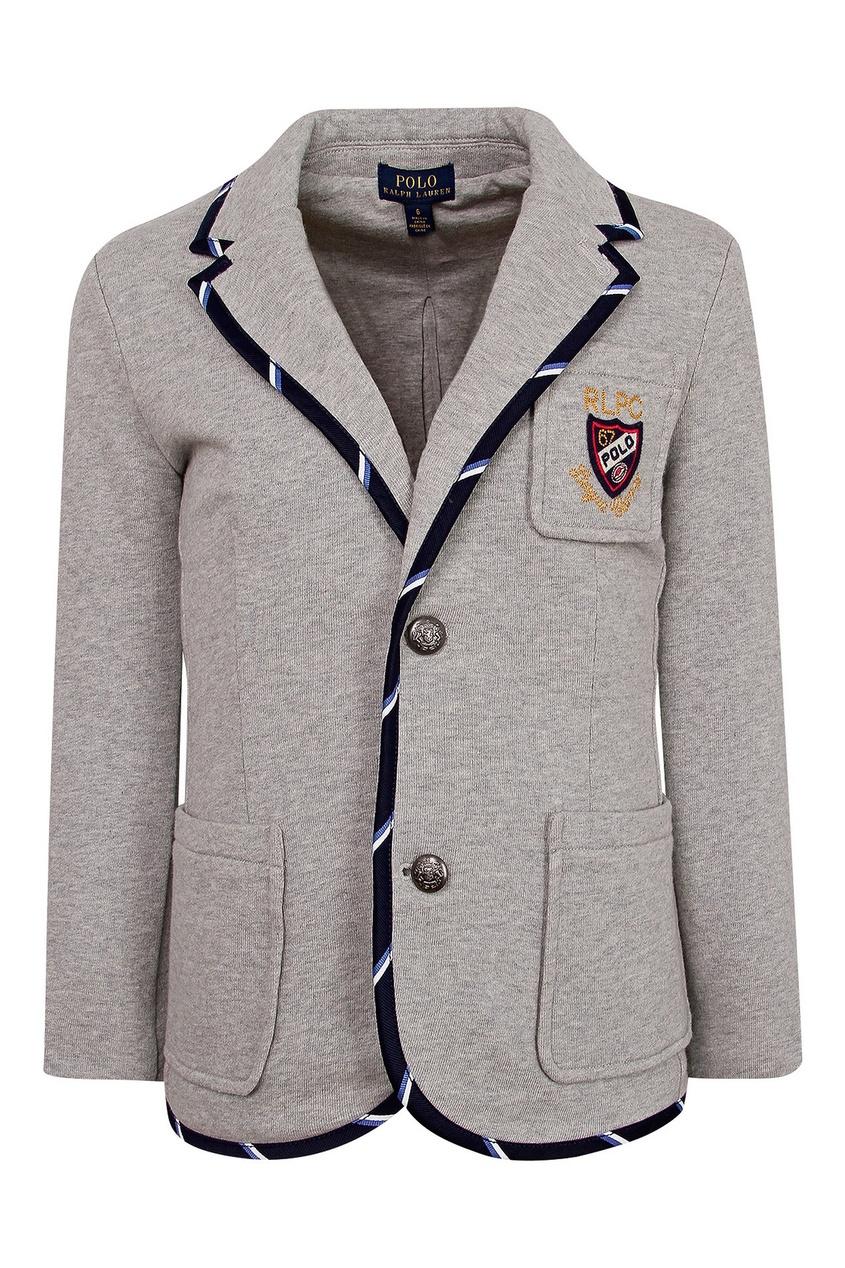 Серый трикотажный пиджак с карманами Ralph Lauren Kids