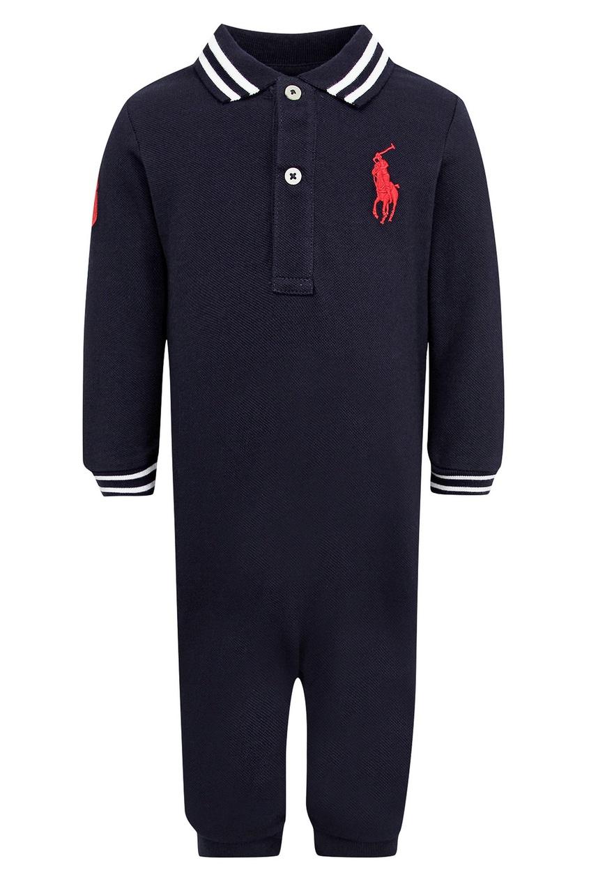 Черный комбинезон с красным логотипом от Ralph Lauren Kids