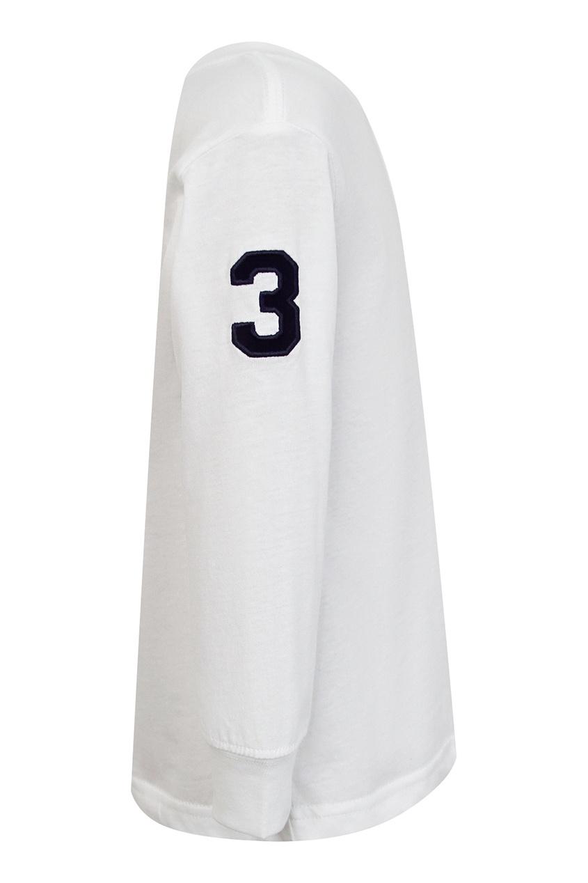 Фото 3 - Белый лонгслив с контрастной отделкой от Ralph Lauren Kids белого цвета