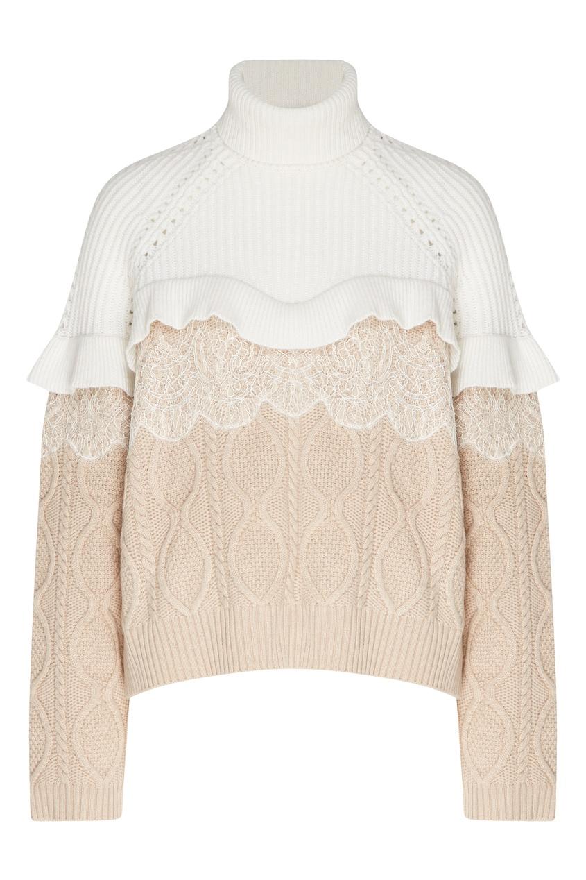 Комбинированный свитер с отделкой от Fendi