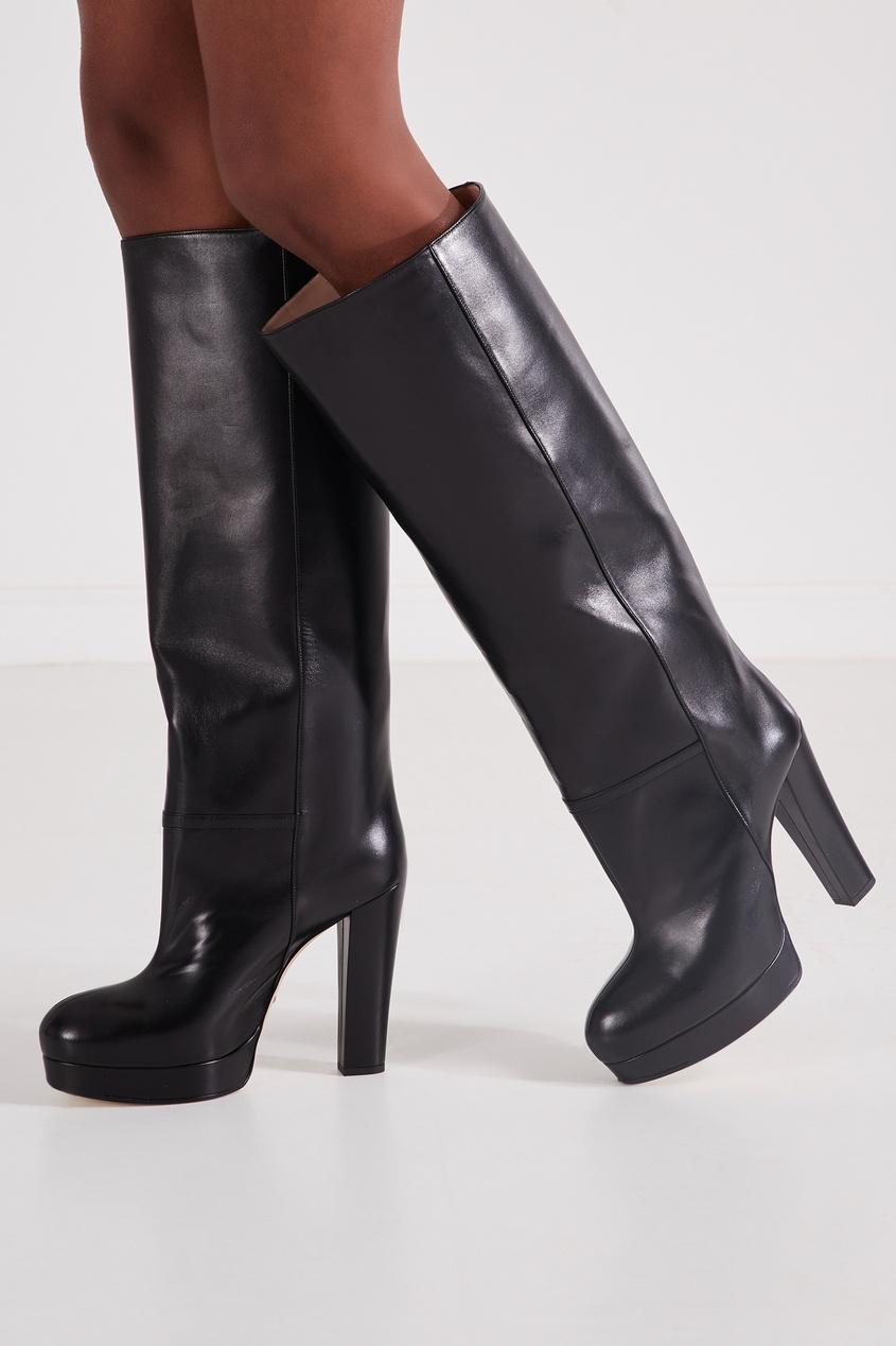 Черные кожаные сапоги Gucci BLACK 470151598