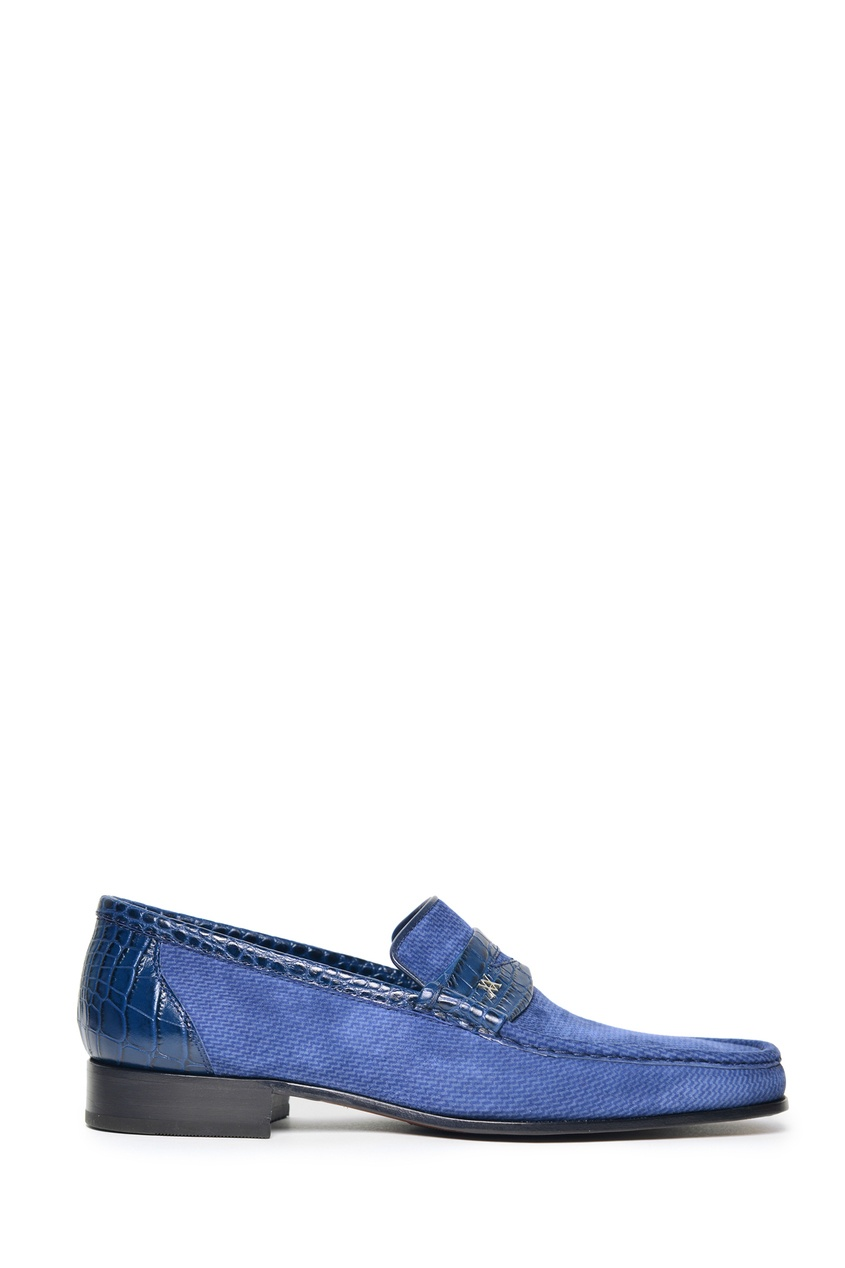 Синие комбинированные лоферы от Artioli
