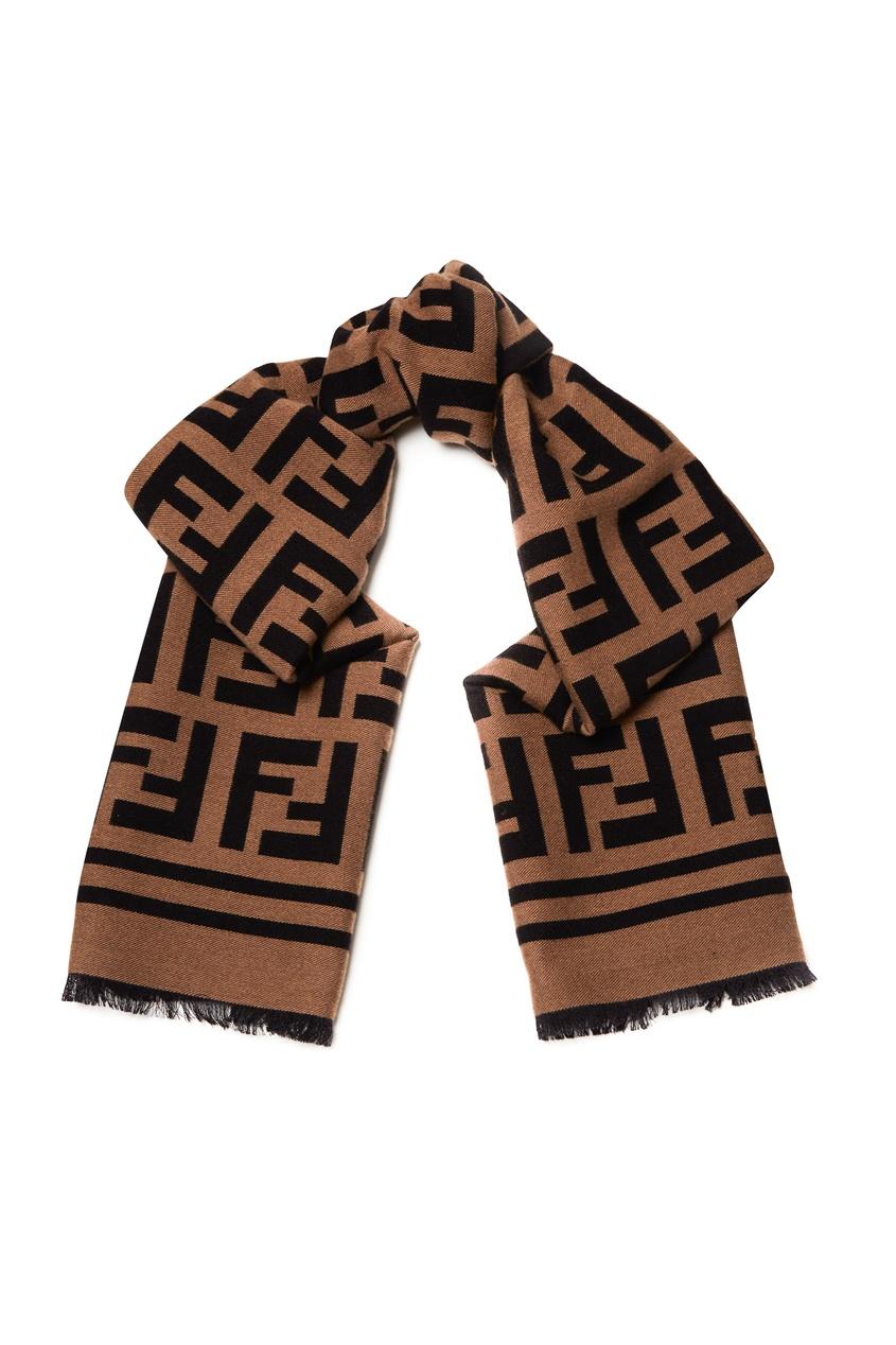 мужской шарф fendi, коричневый