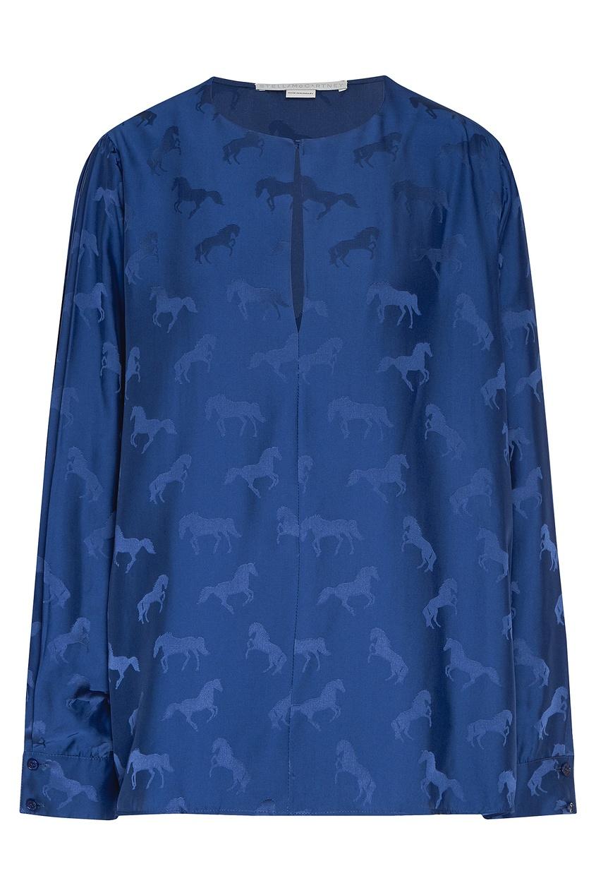 женская блузка stella mccartney, синяя