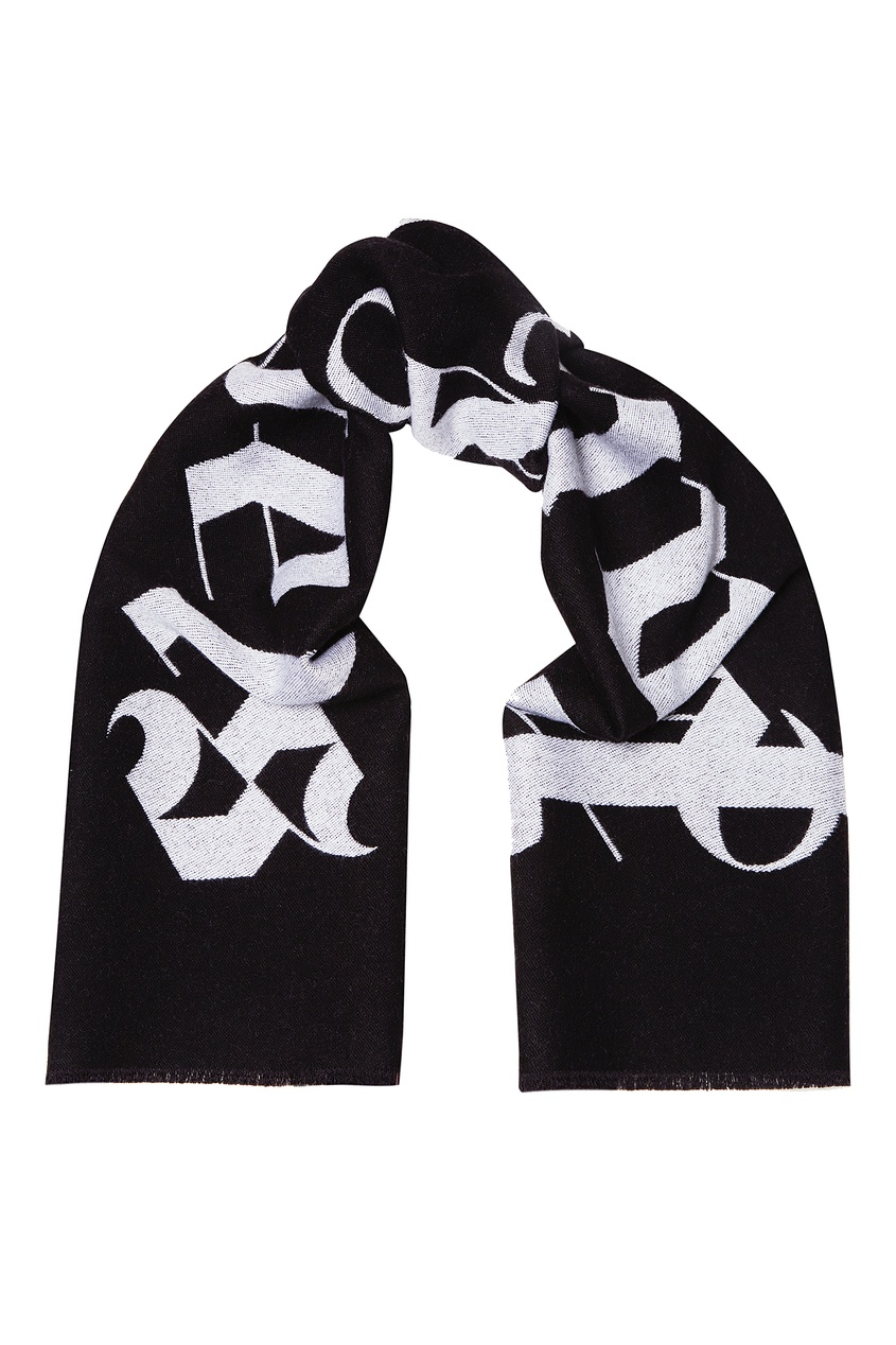 Черный шарф с логотипом Palm Angels
