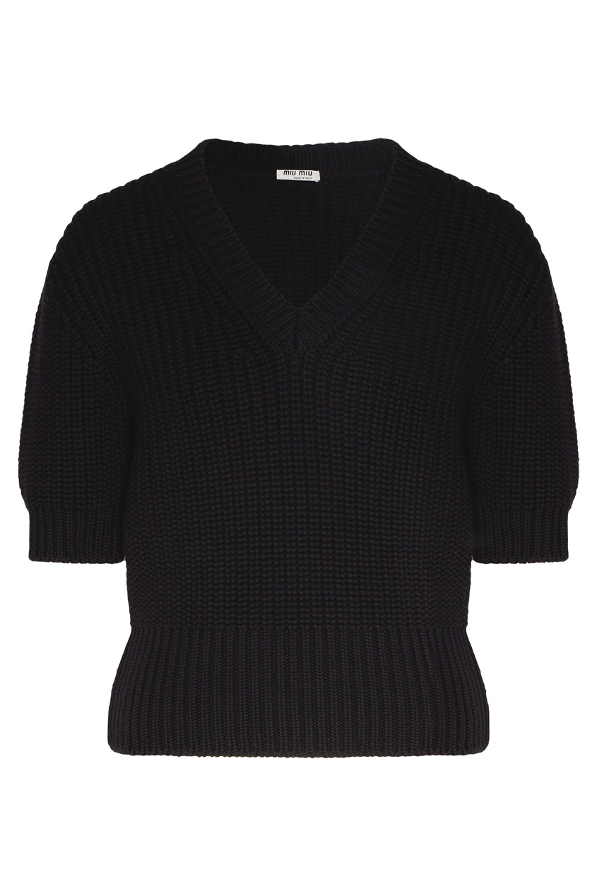 Черный пуловер с рукавами 1/2 от Miu Miu