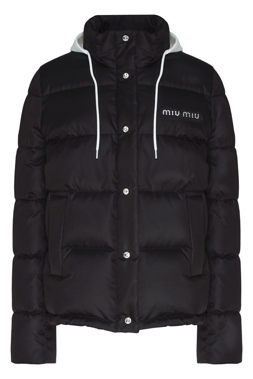 Черная куртка с комбинированным капюшоном от Miu Miu