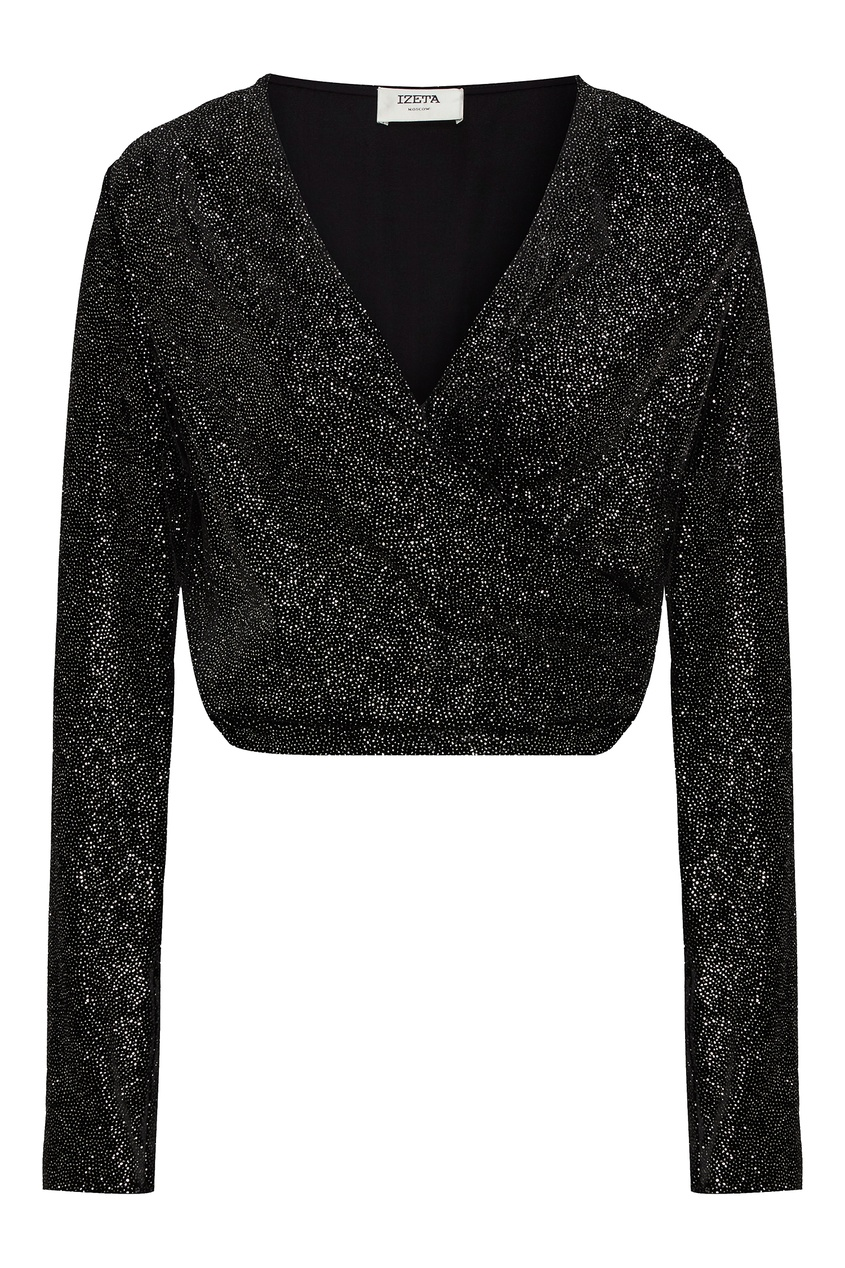 Блестящая черная блузка с завязками фото