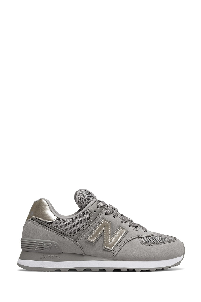 Серые кроссовки с серебристыми вставками New balance