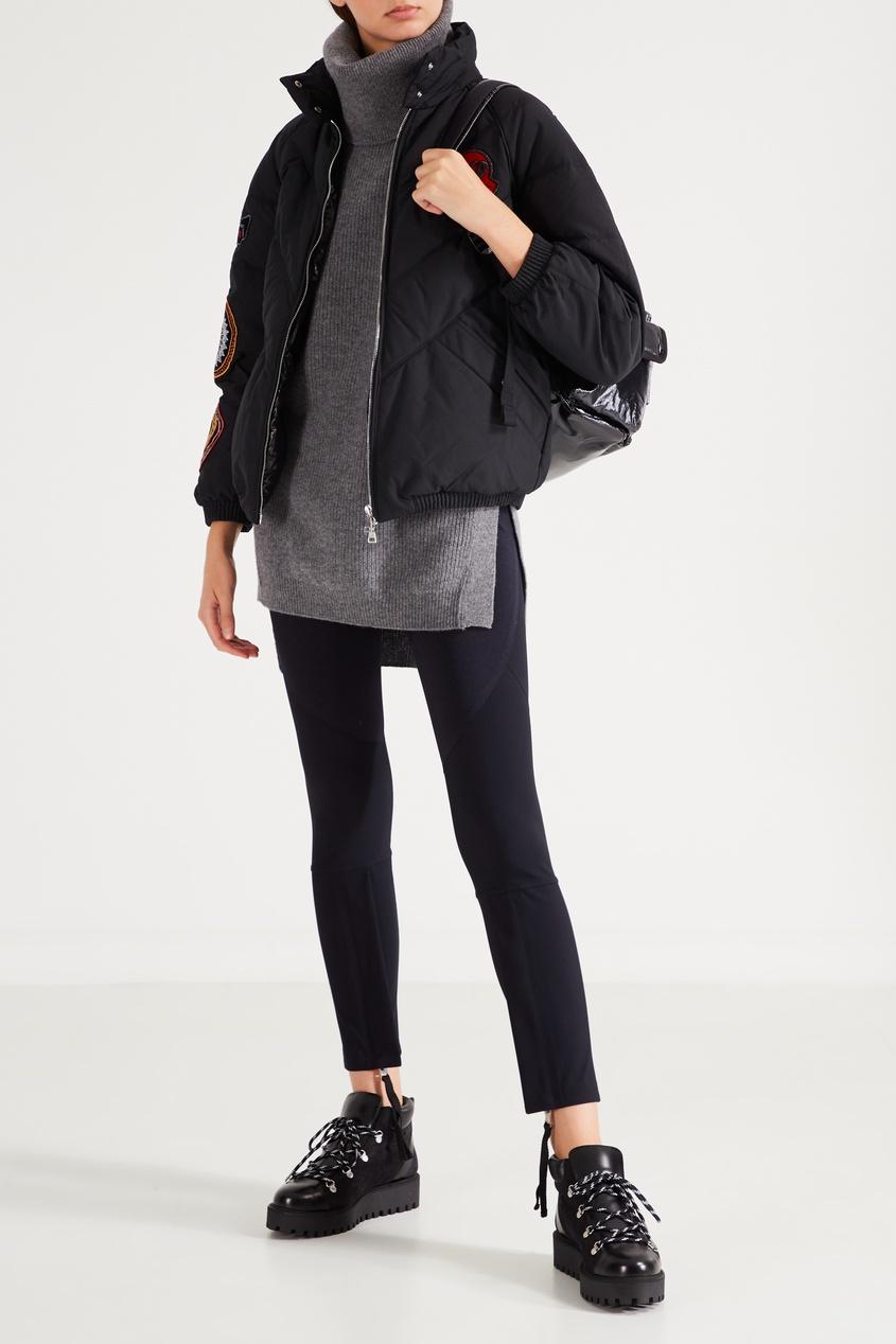 Фото 2 - Спортивные брюки с эластичным поясом от Moncler черного цвета