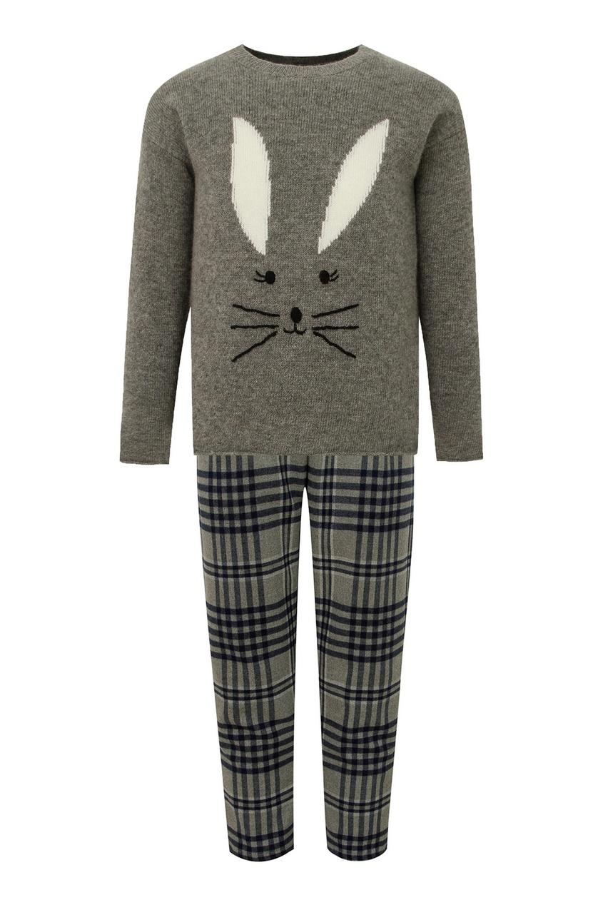 Серый комплект из свитера и брюк от Il Gufo