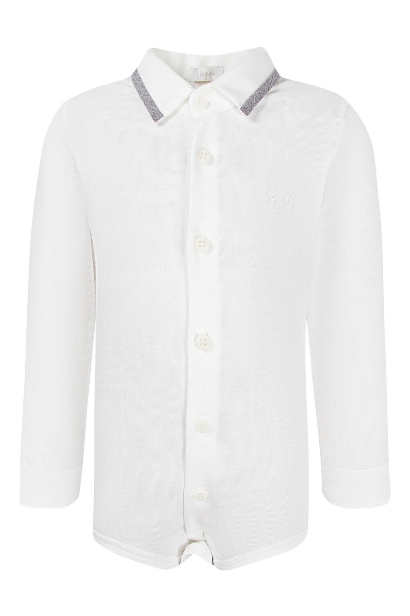Белое боди-рубашка IL Gufo