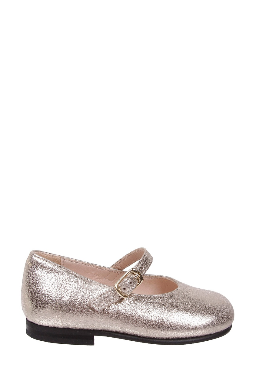 Серебристые туфли на девочку от Il Gufo