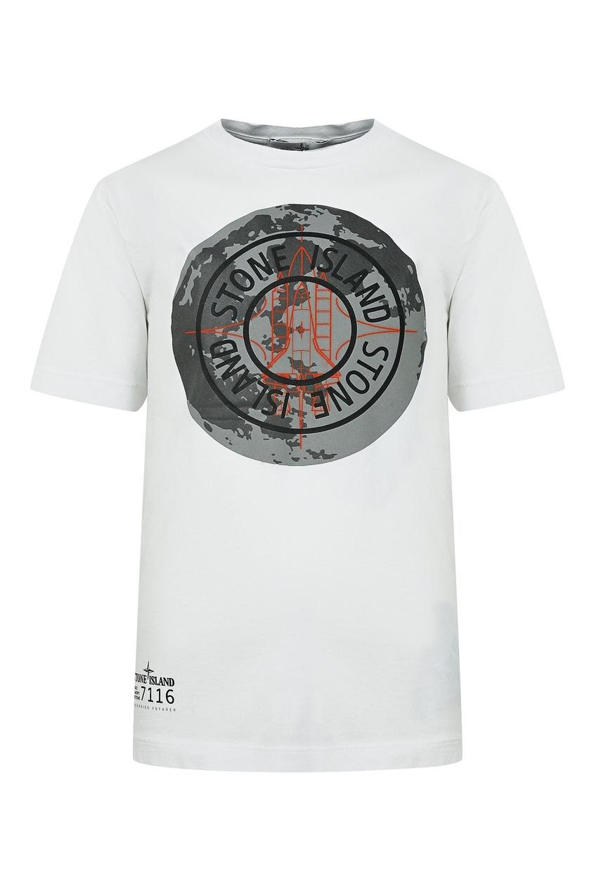 Белая футболка с логотипом на груди от Stone Island Kids
