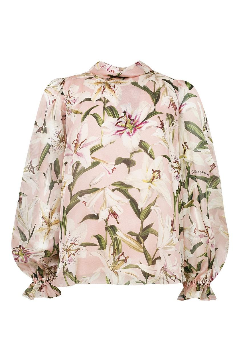 Розовая блуза с цветочным принтом Dolce&Gabbana Children