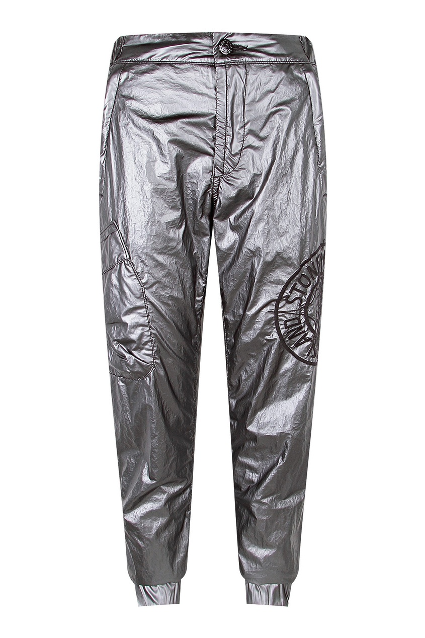 Зауженные брюки из металлизированной ткани от Stone Island Kids