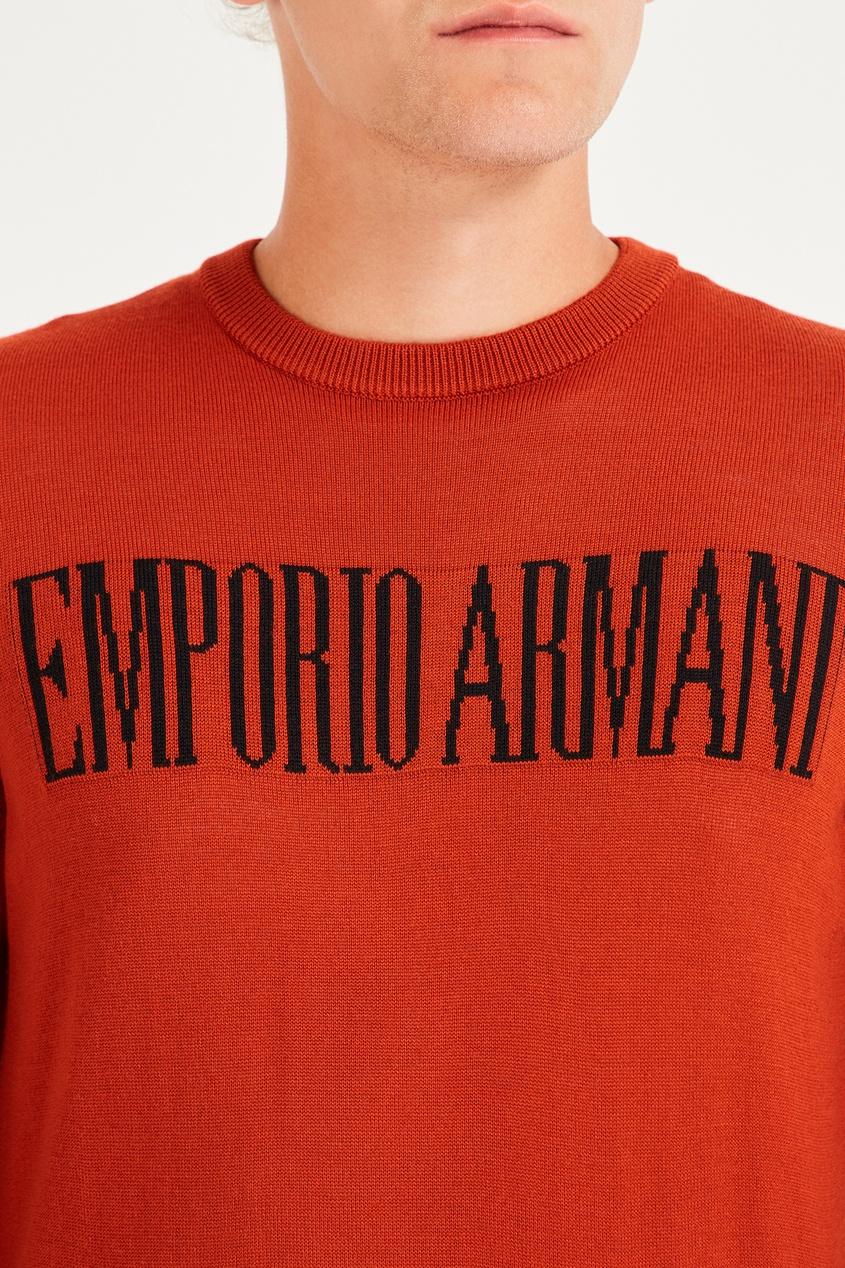 мужской джемпер emporio armani, коричневый