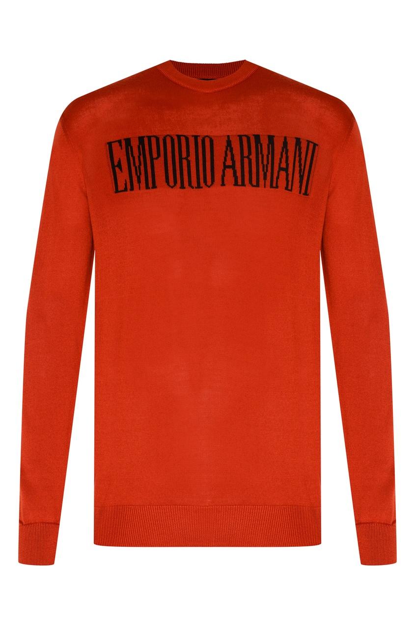 Красный джемпер с логотипом от Emporio Armani