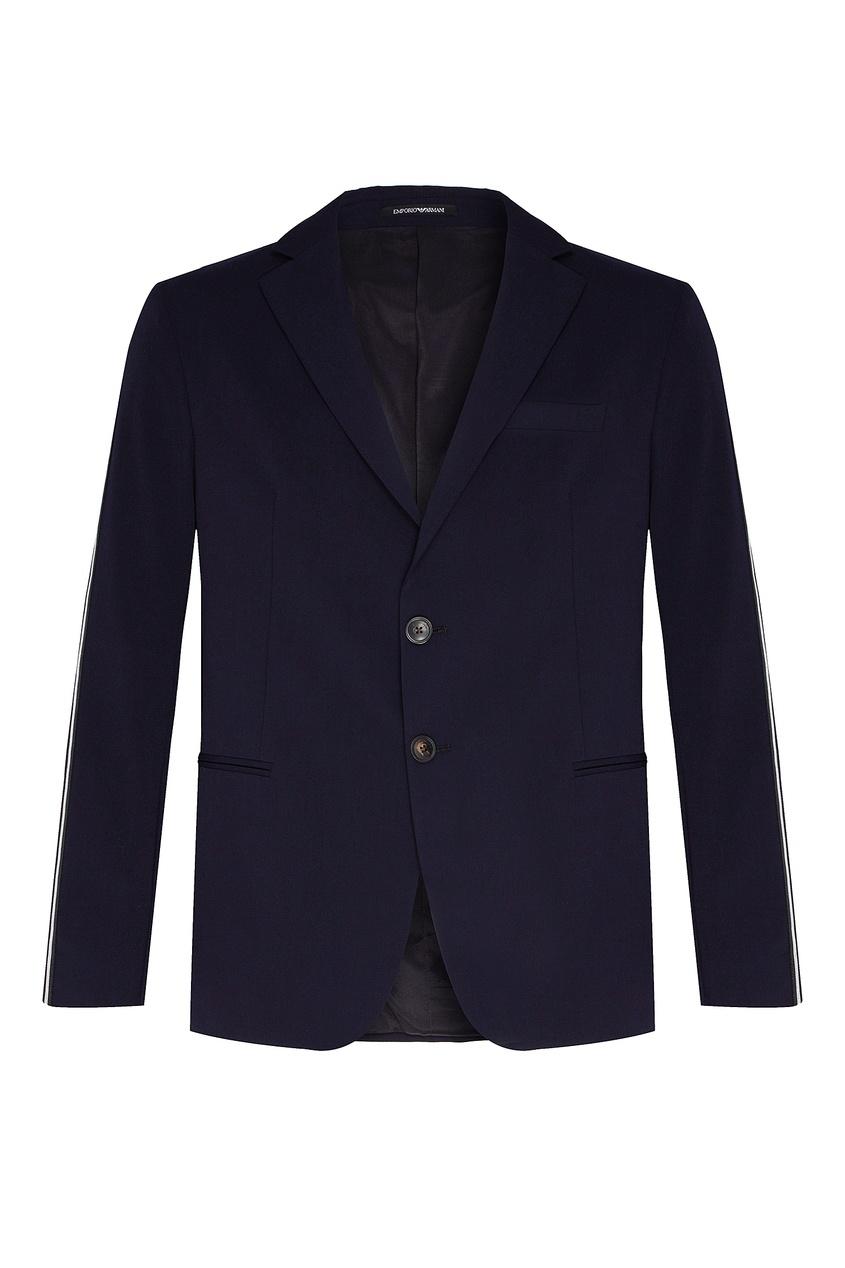 Синий пиджак с отделкой Emporio Armani