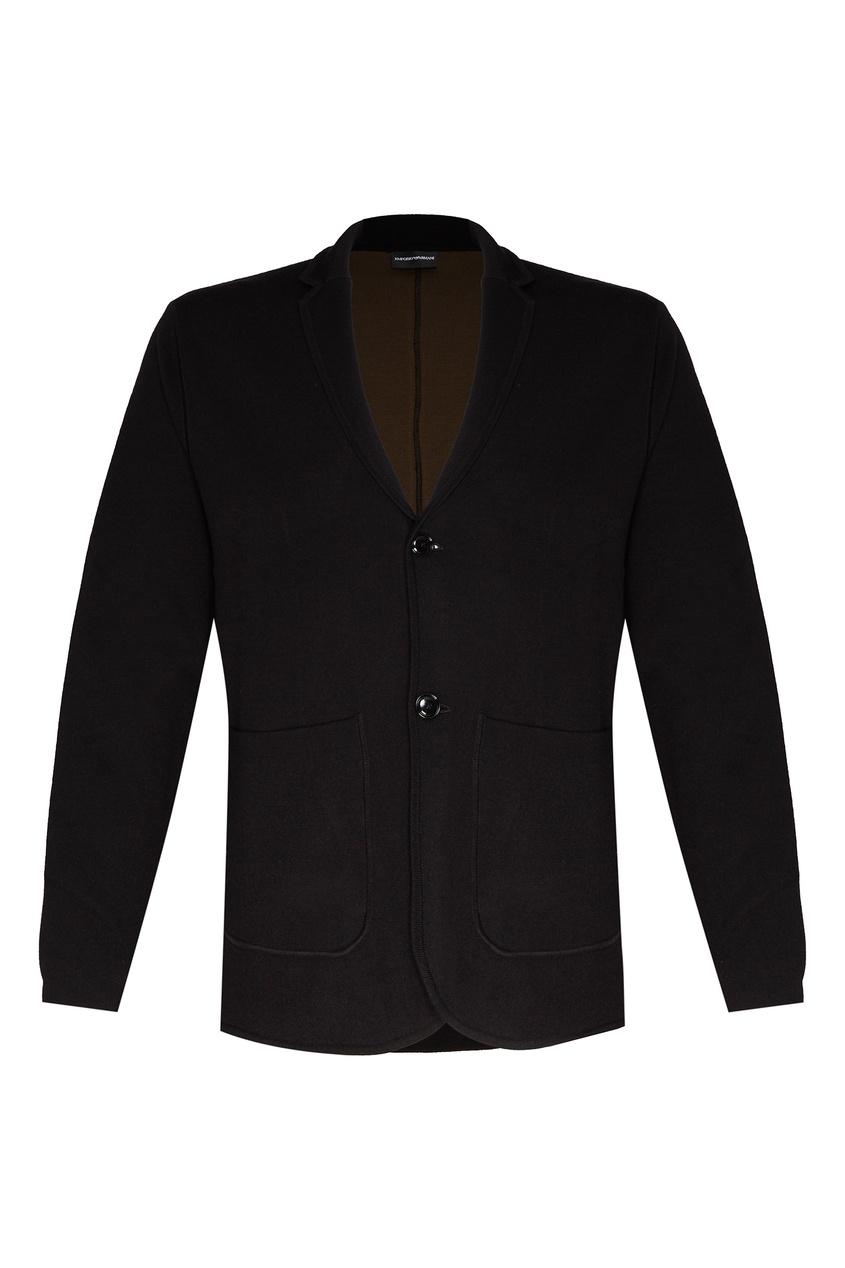 Черный пиджак с накладными карманами Emporio Armani