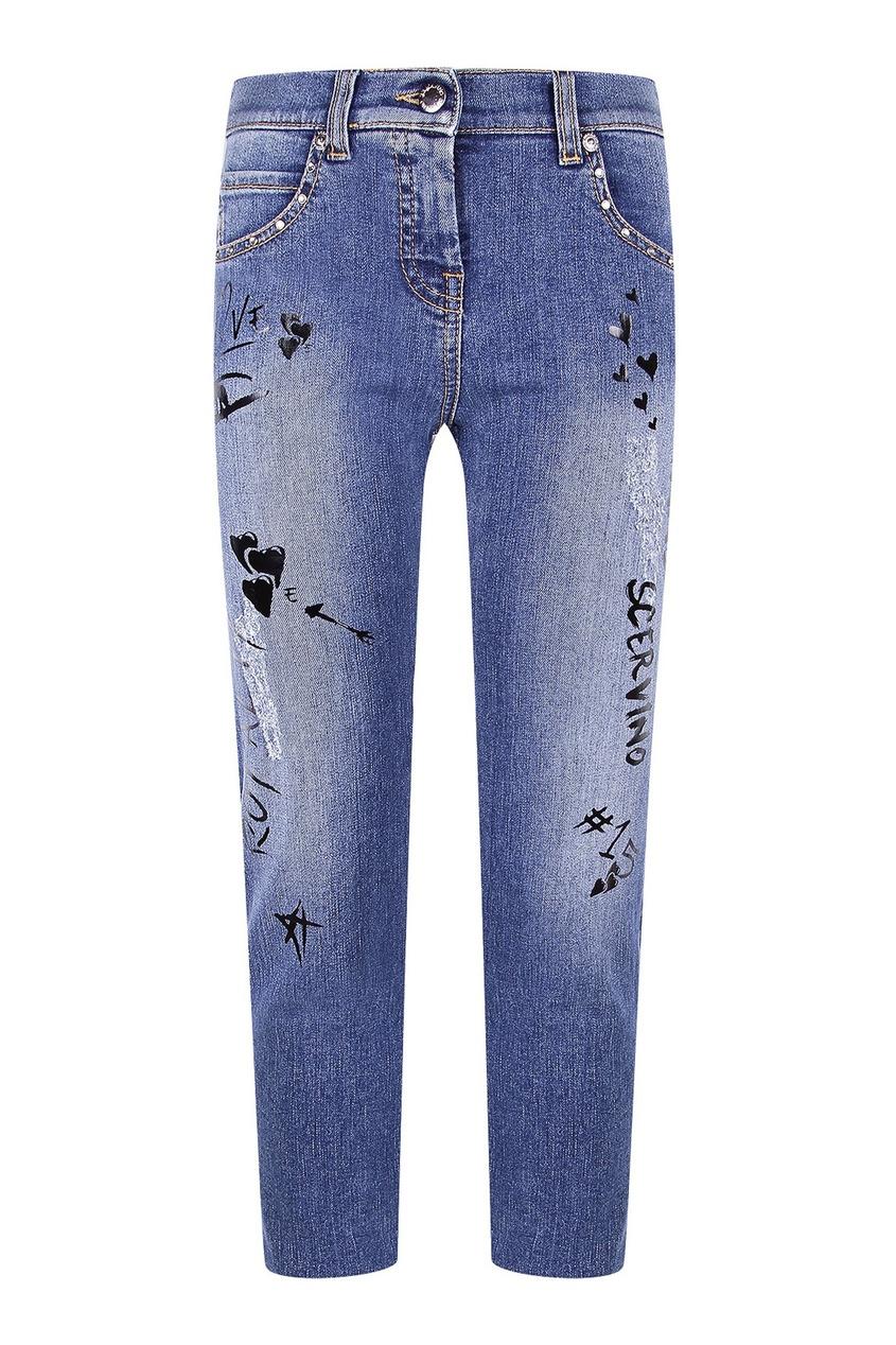 Голубые джинсы с узорами Ermanno Scervino Children