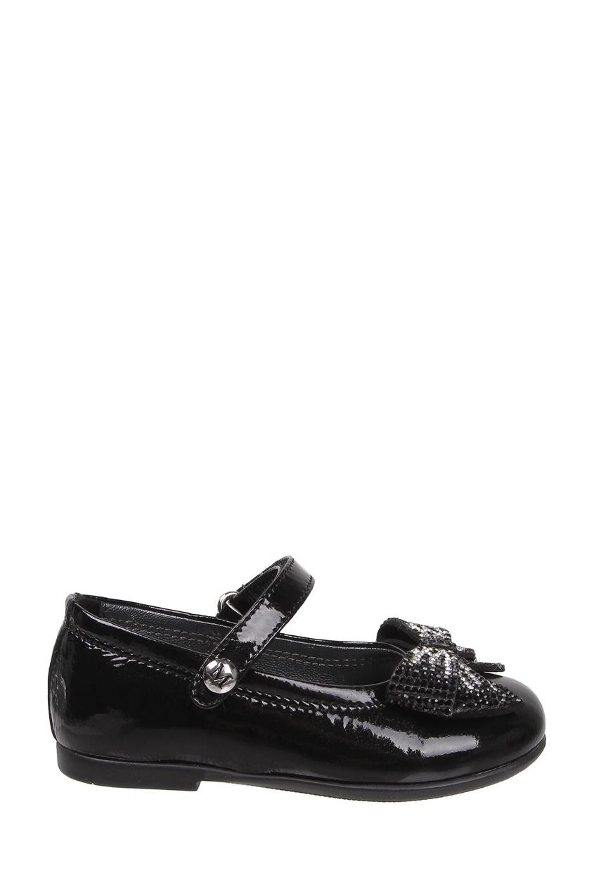 Черные лаковые туфли с бантом