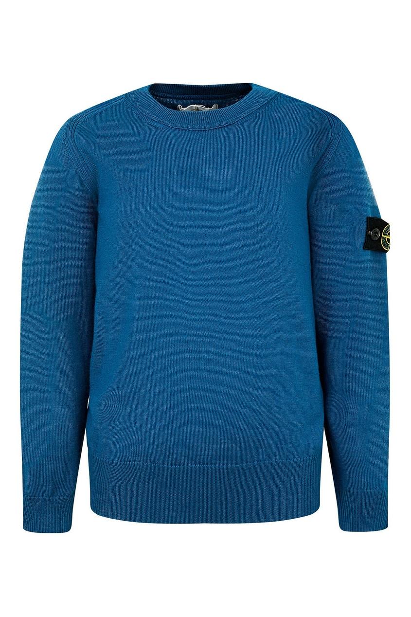 Синий вязаный свитер с нашивкой от Stone Island Kids