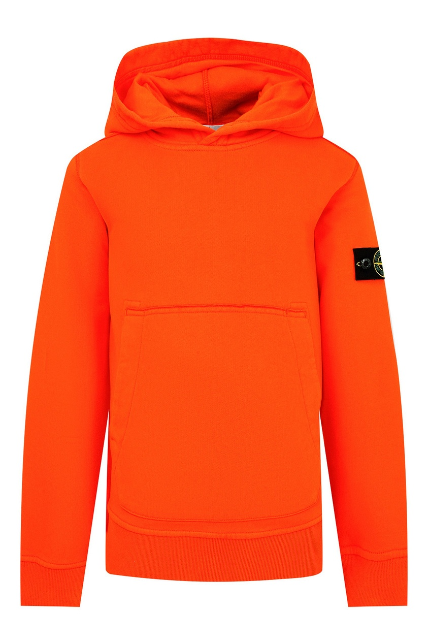 Оранжевое худи с вышивкой на спине от Stone Island Kids