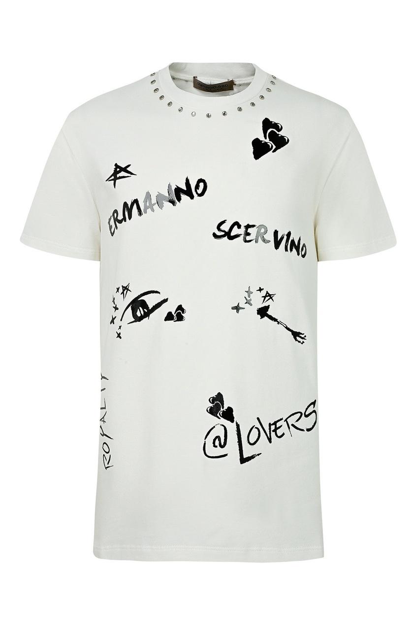 Белая удлиненная футболка с декором от Ermanno Scervino