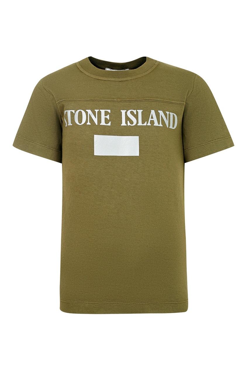 Футболка цвета хаки от Stone Island Kids