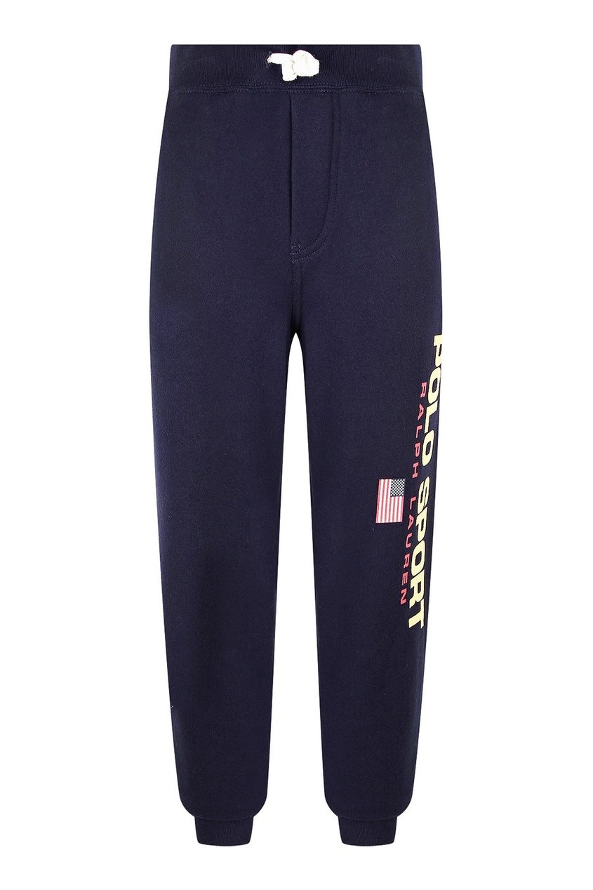 Синие спортивные брюки с надписью Ralph Lauren Kids